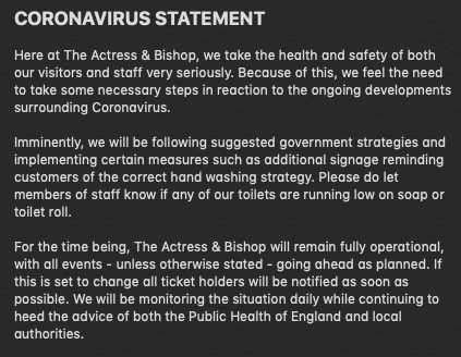 CORONA VIRUS STATEMENT
